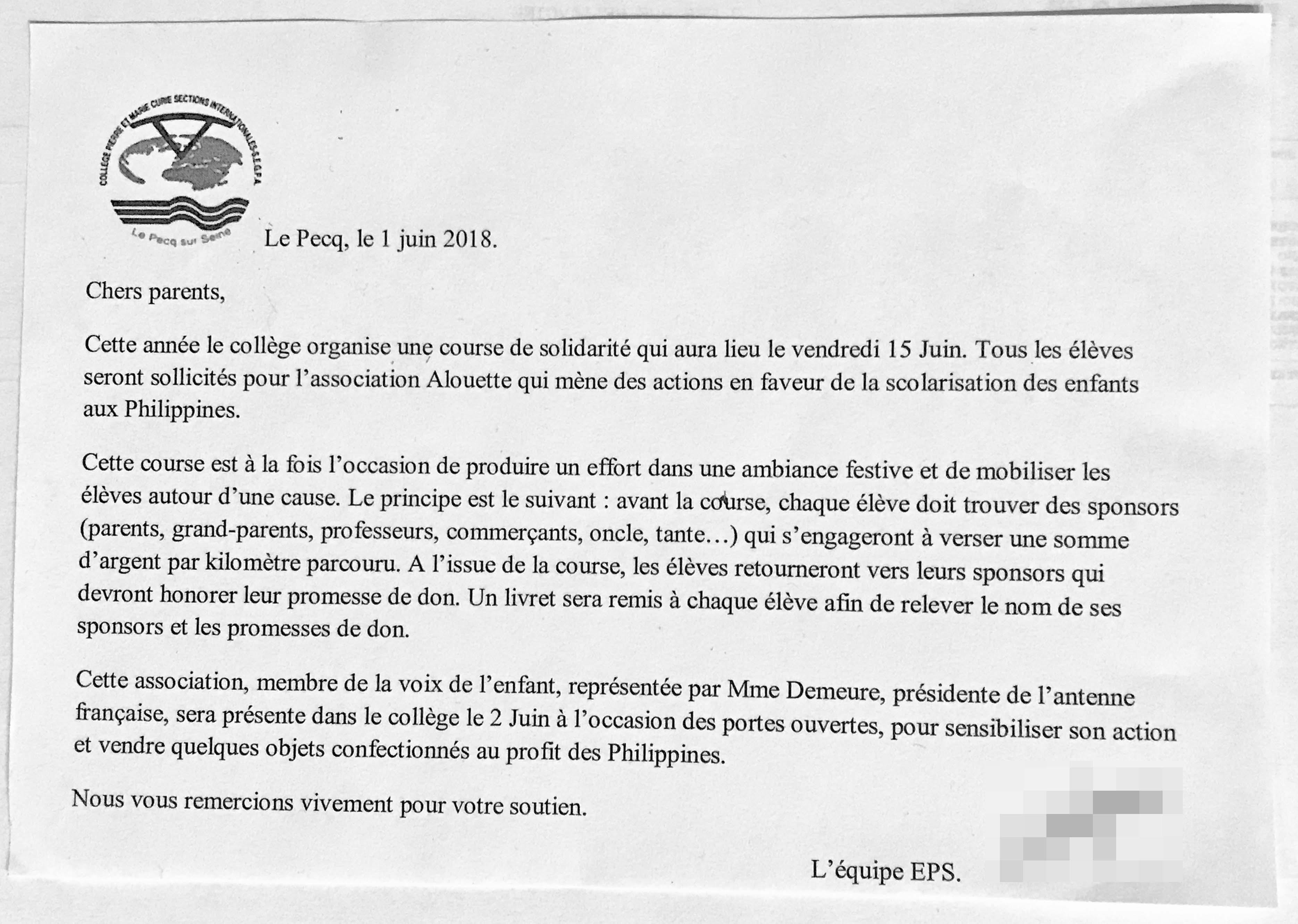 Course solidaire par les collégiens du Pecq (15 juin 2018) au profit ...