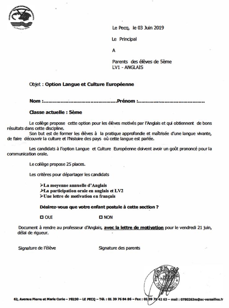 Rappel Candidatures A L Option Anglais Langue Et Culture Europeenne Pour Les Futurs 4e Du College Pmc Blog D Infos Du College Pmc Du Pecq